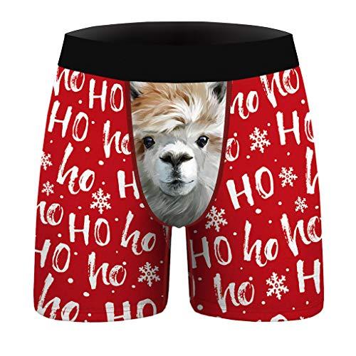 WYILIY Men's Christmas Print Slim Breathable Sports Underwear Long Flat Pants Briefs Mens Underwear Men Pack Soft Open Fly Underwear