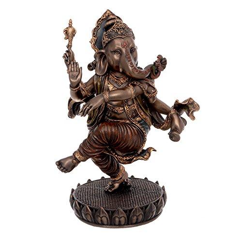 Idol Collections Bonded Bronze Dancing Ganesh Brass Statue, Yellow