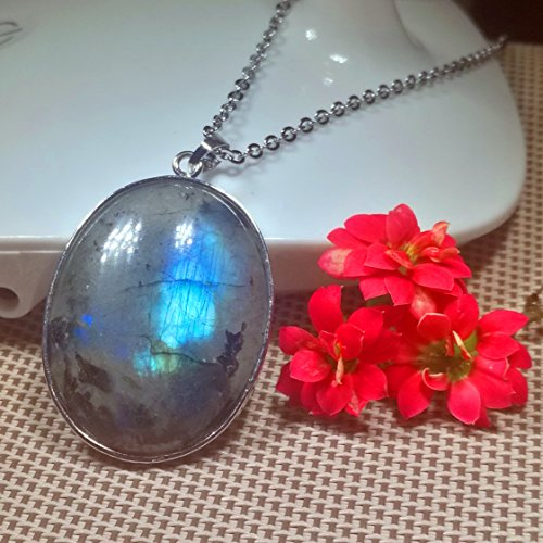1 Pcs 2'' Beautiful Jewelry Hand Carved Gemstone Labradorite In Sliver Frame Pendant With Silver Chain Necklace 50mm (Labradorite)