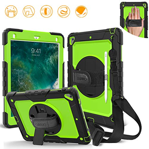 DUNNO iPad 9.7 2017/2018 case - Heavy Duty Protective Case with 360° Rotating Kickstand & Built-in Screen Protector Shockproof Design for Apple iPad 9.7 inch 2017/2018 (5th/6th Gen) (Black/Green)