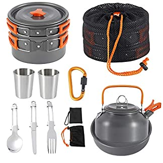 Jetcloud Camping Cookware Kit Outdoor Aluminum Cooking Set for 2 to 3 People Non Stick Folding Camping Pans and Pots… 10