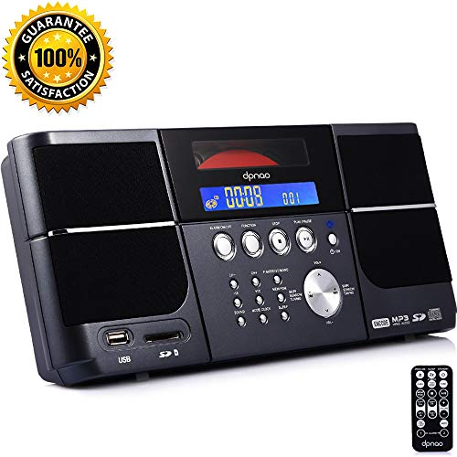 DPNAO Portable Cd Player with FM Radio Clock Alarm USB SD Aux Boombox Wall Mountable for Home (Player Cd Usb Sd)