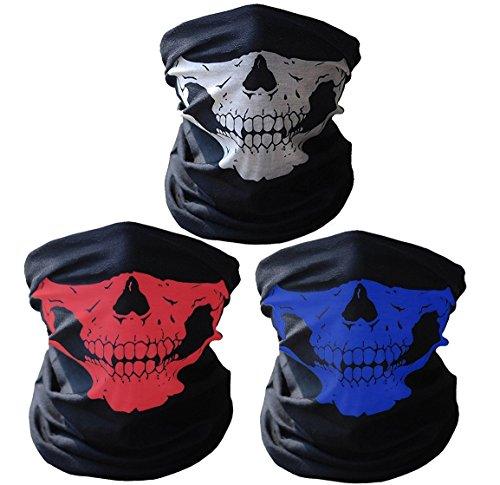 Super Things Skull Mask Multipack, Seamless Skull face Tube Masks (White/Red/Blue) -
