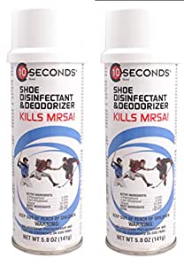 10-Seconds Shoe Deodorizer and Disinfectant - The Only EPA-Approved Shoe Disinfectant effective against Bacteria, Fungus, Mold, and Mildew (Pack of 2)