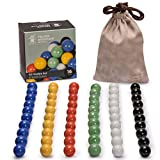 Marbles for Chinese Checkers, Set of 60, 6 Solid Colors, 10 Marbles for Each Color, Includes Velvet