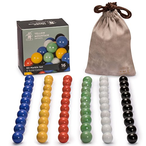 Marbles for Chinese Checkers, Set of 60, 6 Solid Colors, 10 Marbles for Each Color, Includes Velvet Drawstring Pouch