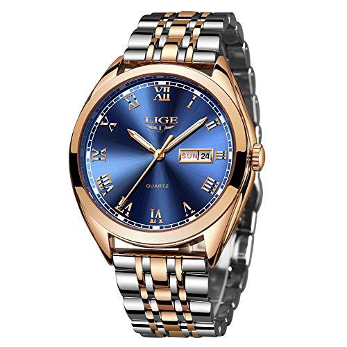 LIGE Men's Watch Waterproof Stainless Steel Analog Quartz Watch
