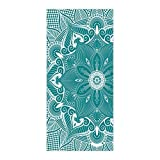 OxOHome Custom Bath Towel Quick Dry Absorbent Towels Spa Shower Wrap for College Dorms, Gyms, Locker Rooms, 27.5 x 55 inch - Mandala Theme Retro Green White Indian Traditional Floral Print