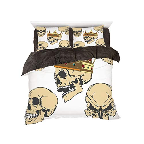 Flannel Duvet Cover Set 4-Piece Suit Warm Bedding Sets Quilt Cover for Bed Width 5ft Pattern by,Skull Decor,Skulls Different Expressions Evil Face Crowned Death Monster Halloween,Sand Brown Yellow for $<!--$118.88-->