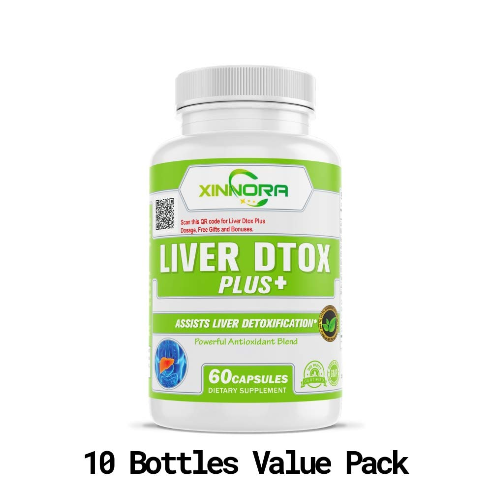 XINNORA Liver Dtox Plus+ - Milk Thistle & Powerful Antioxidant Blend - Natural Supplement for Liver Support, Supports Liver Health, Liver Detoxifier, Great for Liver Cleanse & Detox - 60 Caps x10 BTLs