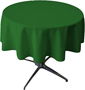 LA Linen Tablcloth Polyester Poplin Tablecloth 58-Inch Round, Green Emerald