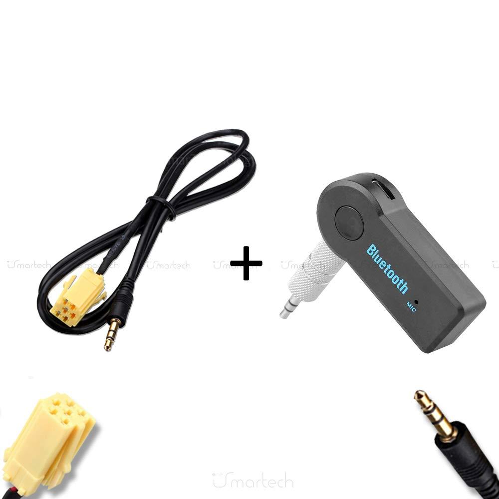 Dispositivo Ricevitore Bluetooth Con Microfono Incorporato Chiamata Vivavoce Smartphone Mp3 OneIsmartech Cavo Aux Audio Adattatore Autoradio Stereo Fiat Alfa Romeo Lancia Jack Maschio 150 cm