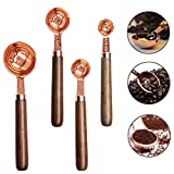 Rose Gold Plated Stainless Steel Measuring Spoons Set of 4 pieces Coffee Scoop with Wood Handle