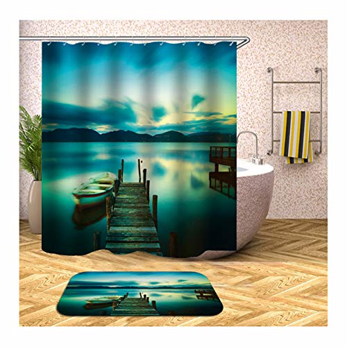 Gnzoe Polyester 2 Pack Shower Curtain and 16''x24'' Rug Set Colorful Small Bridge and Boat 72x72 in Design 16' Olive Boat