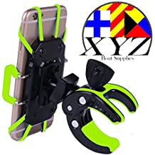 XYZ Boat Supplies® Cell Phone Mount/ Holder for Motorcycle / Bike Handlebars/ Boat, Iphone, Samsung, Smart Phone, Lifetime Warranty (Green)