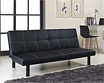 Beau Single Faux Leather Sofa Bed In Black   Spencer Sofabed