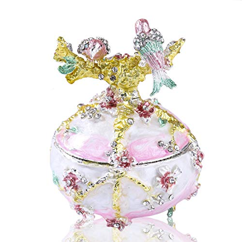 (YUFENG Hand Painted Enameled Faberge Egg Love Bird Style Decorative Hinged Jewelry Trinket Box Unique Gift for Home Decor)