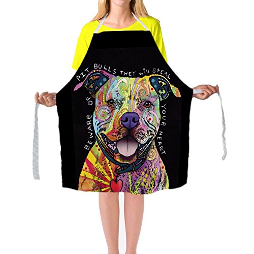 Catetime Pitbull Chef Apron Friendly Dogs Pet Kitchen Cooking Apron For Men And Women 29X34 Inch Big Size Bib Aprons