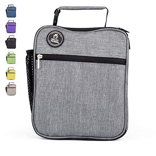 Insulated Lunch Box for Adults and Kids - Professional Work Lunch Bag for Men and Women - Spacious and Heavy Duty School Lunchbox for Boys and Girls (Dark Grey)