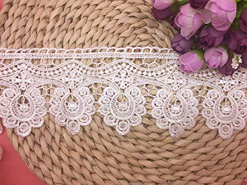 - 9.5CM Width Europe Floral Venise Pattern Inelastic Embroidery Trims,Curtain Tablecloth Slipcover Bridal DIY Clothing/Accessories.(2 Yards in one Package) (White)
