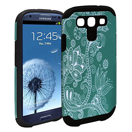Samsung Galaxy S3 Case - Customerfirst [Shock Absorption / Impact Resistant] Hybrid Dual Layer Armor Defender Protective Case Cover For Galaxy S3 i9300 (Teal Lotus) ()