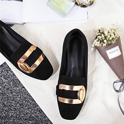 Orteil De Chaussures Style Chaussures Cuir PU Talons Carré De Femme Dames Hauts Printemps Chaussures Mode Rue Automne LIANGHUA Solide Classice Femmes Pompes zqXxABqnw