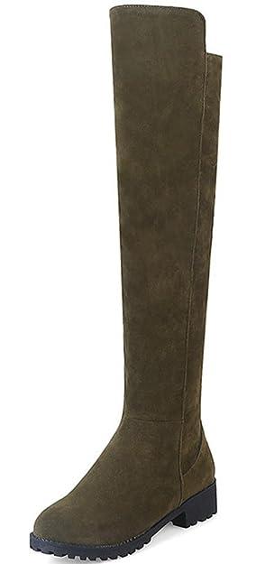 Aisun Damen Runde Zehen Plateau Blockabsatz Martin Boots Sexy Overknee Langschaft Stiefel Rot 44 EU fMxhJVd9H