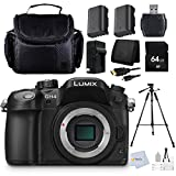 Panasonic LUMIX GH4 DMC-GH4KBODY 16.05MP Digital Single Lens Mirrorless Camera with 4K Cinematic Video (Body Only) + 64GB Memory Card + 72'' Tripod + Memory Card Reader + 2 Batteries + Charger & more