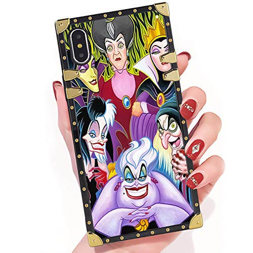 Easy Cartoon Characters For Halloween (DISNEY COLLECTION iPhone X Case Cartoon Characters Disney Villains Ladies Square Phone Case Cover Soft TPU 360 Degree Luxury Shockproof Protective Case Compatible for iPhone X 5.8)