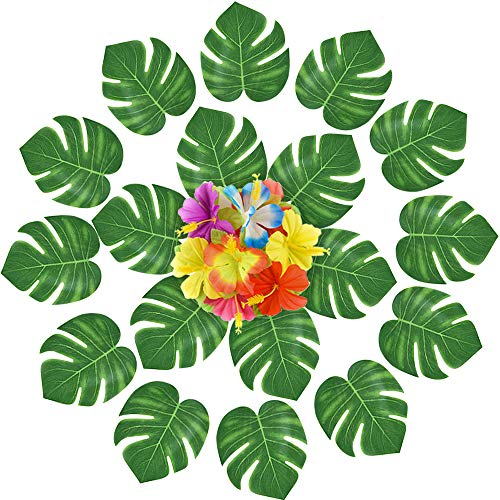Kuuqa 120 Pcs Artificial Tropical Leaves Flowers Decoration Tropical Palm Plant Leaves Hibiscus Flowers Summer Hawaiian Jungle Beach Theme Birthday Luau Party Decorations Supplies