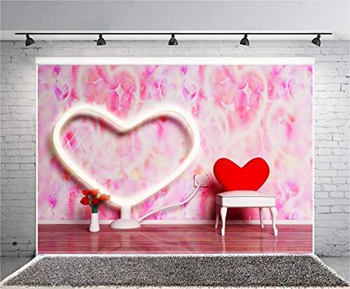 Leyiyi 5x3ft Photography Background Happy Valentine's Day Backdrop Flora Wedding Room Heart Shape Lantern Chair Roses Watercolor Lay Flat Floor Honeymoon Marriage Photo Portrait Vinyl Studio Prop