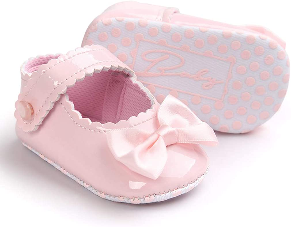 La Vogue Baby Girls Mary Jane Shoes Anti-Slip First Walking Shoes Bowknot Leather Princess Dress Shoes