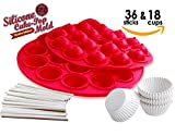 TheWorldMart Silicone Mold Cake Pop Brownie Cupcake Truffle chocolate baking 18 cavity lollipop with 36 sticks 18 mini muffin paper cups wrappers