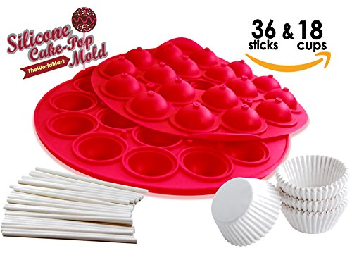 Brownie Pops (TheWorldMart Cake Pop Brownie Pop Cupcake Pop Truffle Pop Silicone Mold chocolate truffles mini cake pop round mold supplies 18 cavity lollipop with 36 sticks with 18 mini muffin paper cups wrappers)