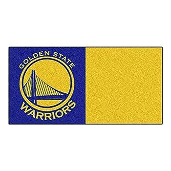 Image of Decorative Tiles FANMATS NBA Golden State Warriors Nylon Face Team Carpet Tiles