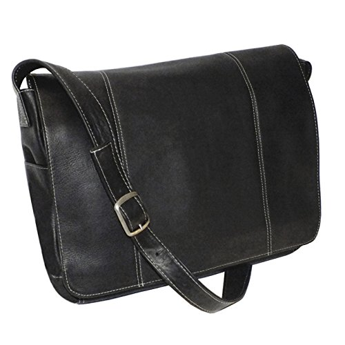 Royce Leather 13 Inch Laptop Messenger Bag in Colombian Leather, Black, One Size