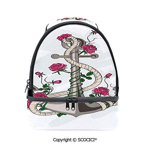 SCOCICI Large Capacity Durable Material Lunch Box Hand Drawn Illustration of Sea Anchor Entwined with Flowers and Marine Rope Decorative Multipurpose Adjustable Lunch Bag