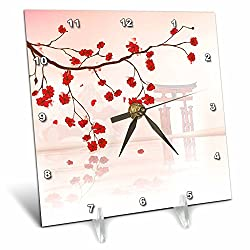3dRose dc_116168_1 Beautiful Japanese Sakura Red Cherry Blossoms Branching Reflecting Over Water Oriental Vector Design Desk Clock, 6 by 6