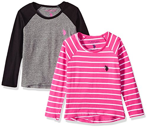 (U.S. Polo Assn. Girls' Little 2 Pack T-Shirt, Long Sleeve Raglan Multi, 4)