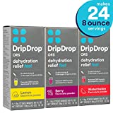 DripDrop ORS - Patented Electrolyte Powder for Dehydration Relief fast - For Heat Exhaustion, Hangover, Illness, Sweating, Watermelon, Berry, Lemon Flavor Variety 3 Pack, Makes (24) 8oz Servings