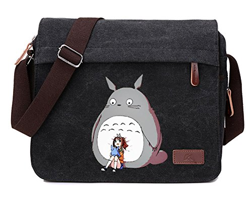 Gumstyle My Neighbor Totoro Anime Cosplay Canvas Messenger Bag Laptop Bags Schoolbag for Boys Girls Black 7