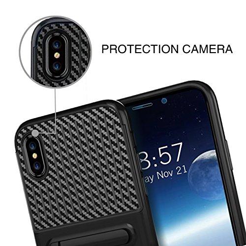 Custodia iPhone X, KKtick iPhone X Caso aver Metallo Stand Design 2 in 1 TPU Antigraffio PC Armor Telefono Back Case Copertura Doppio Strato Cover per iPhone X - Nero