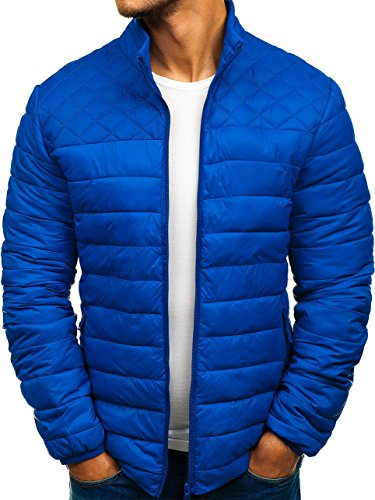 ly12 Casual 4D4 Transitional Jacket Blue Plain Men's Quilted BOLF Sport RwqPz4p
