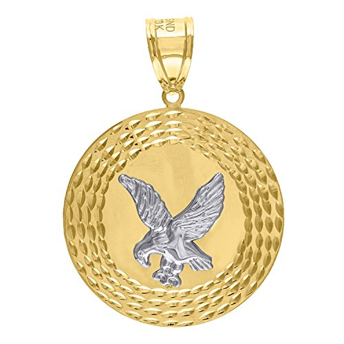 Jewels By Lux 10kt Gold Two-tone DC Mens Eagle Ht:52.5mm x W:36.5mm Animal Charm Pendant.