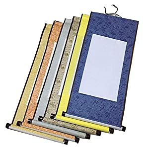 Echaprey 6pcs Blank Mounting Hanging Wall Scrolls Set for Kanji, Sumi and Chinese Calligraphy