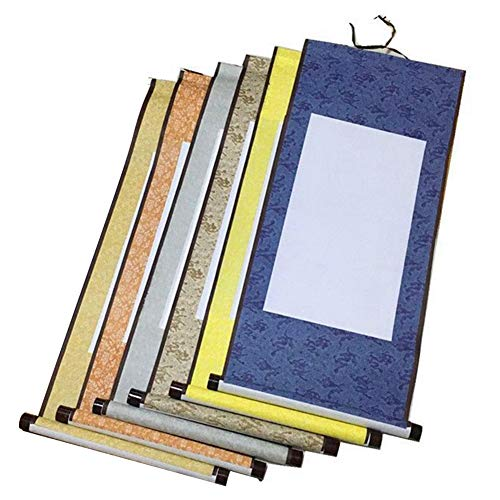 Echaprey 6pcs Blank Mounting Hanging Wall Scrolls Set for Kanji, Sumi and Chinese Calligraphy