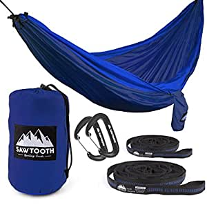Sawtooth Double Camping Hammock With Tree Straps and Aluminum Carabiners - COMPLETE KIT - Lightweight Portable Parachute Nylon for Backpacking Hiking Travel Beach Park Yard. (Blue)