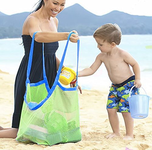 Mesh Collection Bag (Extra Large Beach Mesh Tote Bag Beach Toys Shell Bag Stay Away from Sand Lightweigh Toy Organizer Storage Bag ,Perfect for Holding Childrens' Toys)