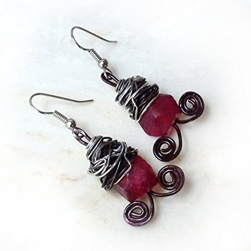 Bronze Mystique Art (Valentines Day Gift - Copper, Steel, Ruby Red Recycled Glass Dangle Drop Earrings - Rustic Wire Wrapped Dangles - Surgical Steel Ear Wires for Sensitive Ears, Handmade, Birthday Gift, Mother's Day)