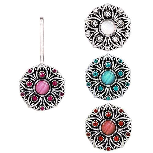 (Ascrafter Sunflower Zipper Pull, 1 Rhinestones Zipper Charms Holder with 4 Replacement Snap Button )